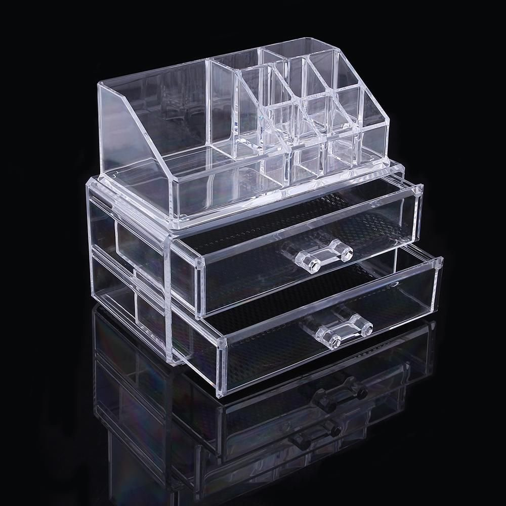 New Acrylic Makeup Cosmetic Jewelry Organizer 2 3 Drawer Clear Multipurpose Box
