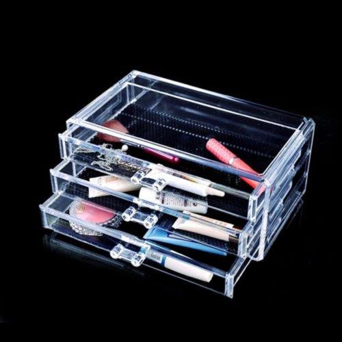 New Makeup Cosmetics Organizer Clear Acrylic 3 Drawers Display Box Storage