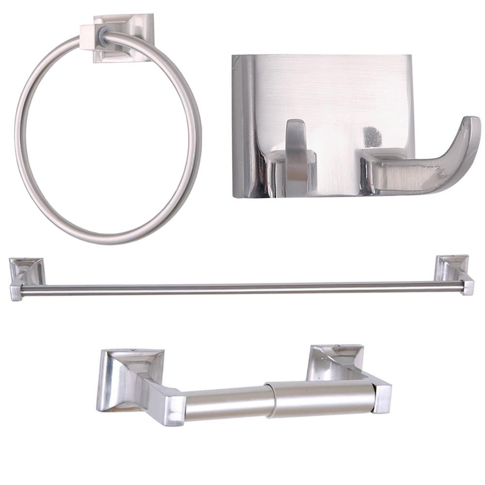 4 Piece Bathroom Accessory Set with 24 inch Single Towel Bar Brushed Nickel