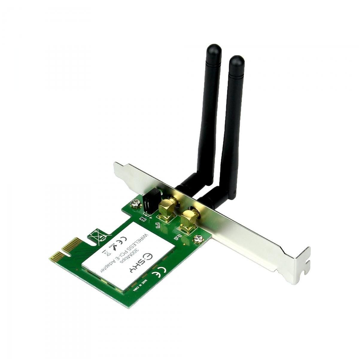 New Wireless Lan PCI-e PCI Express Adapter Card 300Mbps Fast 2 Antenna
