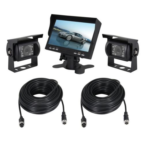 New iClever 7 TFT Monitor Waterproof Car Rear View Night Vision Backup 2 Cameras