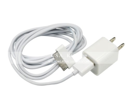 New 10 ft USB Data Sync Cable,AC Wall Charger Adapter for iPhone 4 4G 4S 3GS