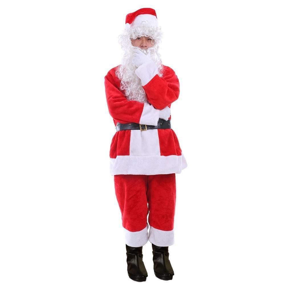 New Santa Claus Costume Adult Deluxe Santa Suit Christmas Fancy Dress Santa Wig