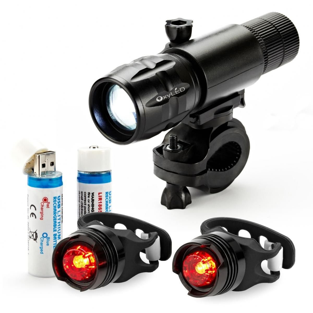 Rechargeable LED Bike Head Light set 2 Taillights Bicycle Back Rear Flashlight