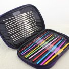 22pcs Mixed Color Aluminum Crochet Hooks Needles Weave Craft Yarn Knit Set