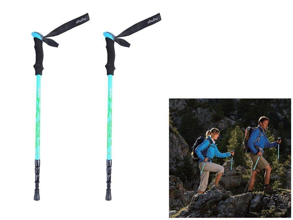Ohuhu Pair 2 Trekking Walking Hiking Sticks Poles Alpenstock anti-shock 65-135cm