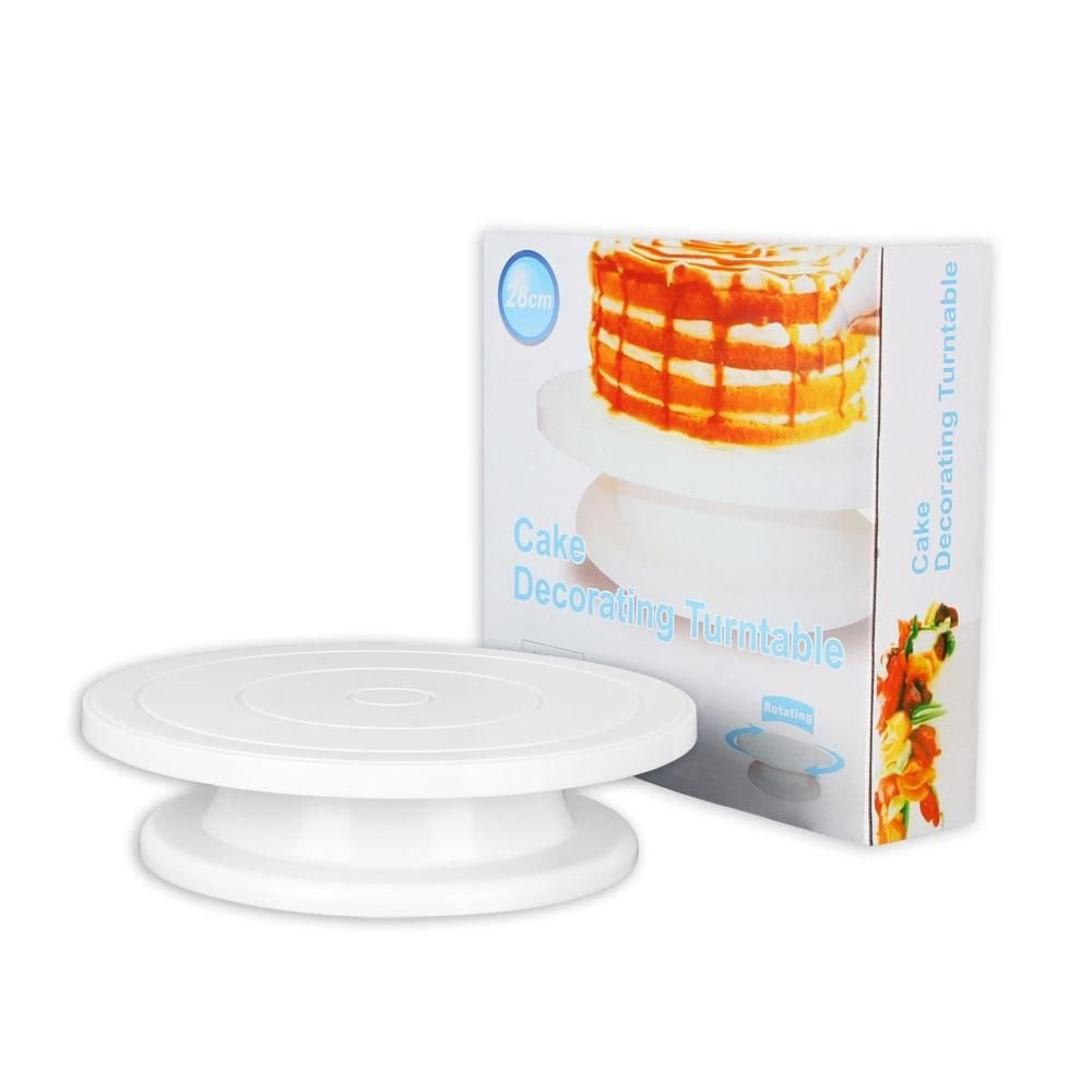 Kitchen Cake Decorating Icing Rotating Turntable Cake Stand White Plastic 11