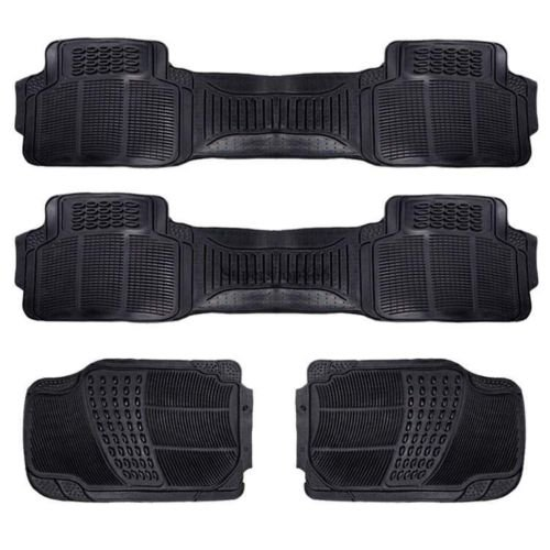 Hot 4PC Heavy Duty Set Rubber Car Floor Mats All Weather Trimmable Van SUV