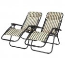 New 2 Outdoor Zero Gravity Lounge Chair Beach Patio Pool Yard Folding Recliner Plaid