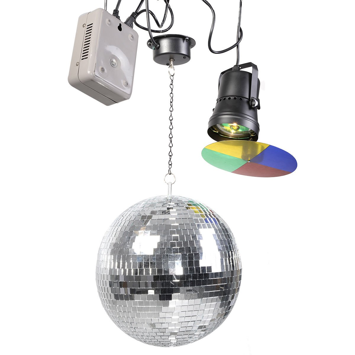 12 Mirror Disco Ball DJ Stage Party Motor LED Light Kit Rotating Spotlight