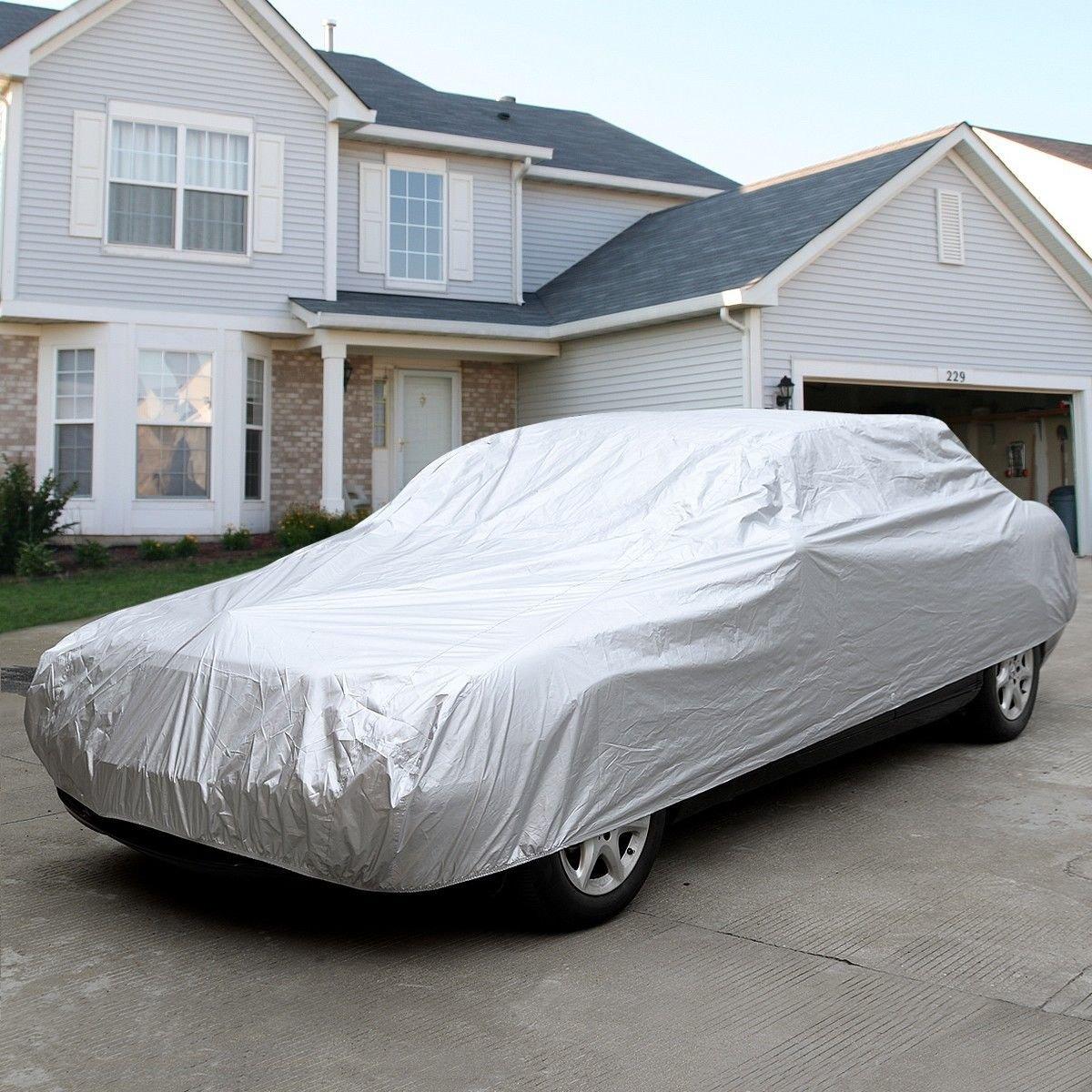 L Size Full Car Cover Waterproof Heat Sun UV Snow Dust Rain Resistant Protection
