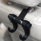 Durable Black Vehicle Seat Clothes Hangers Headrest Holder Double Hook