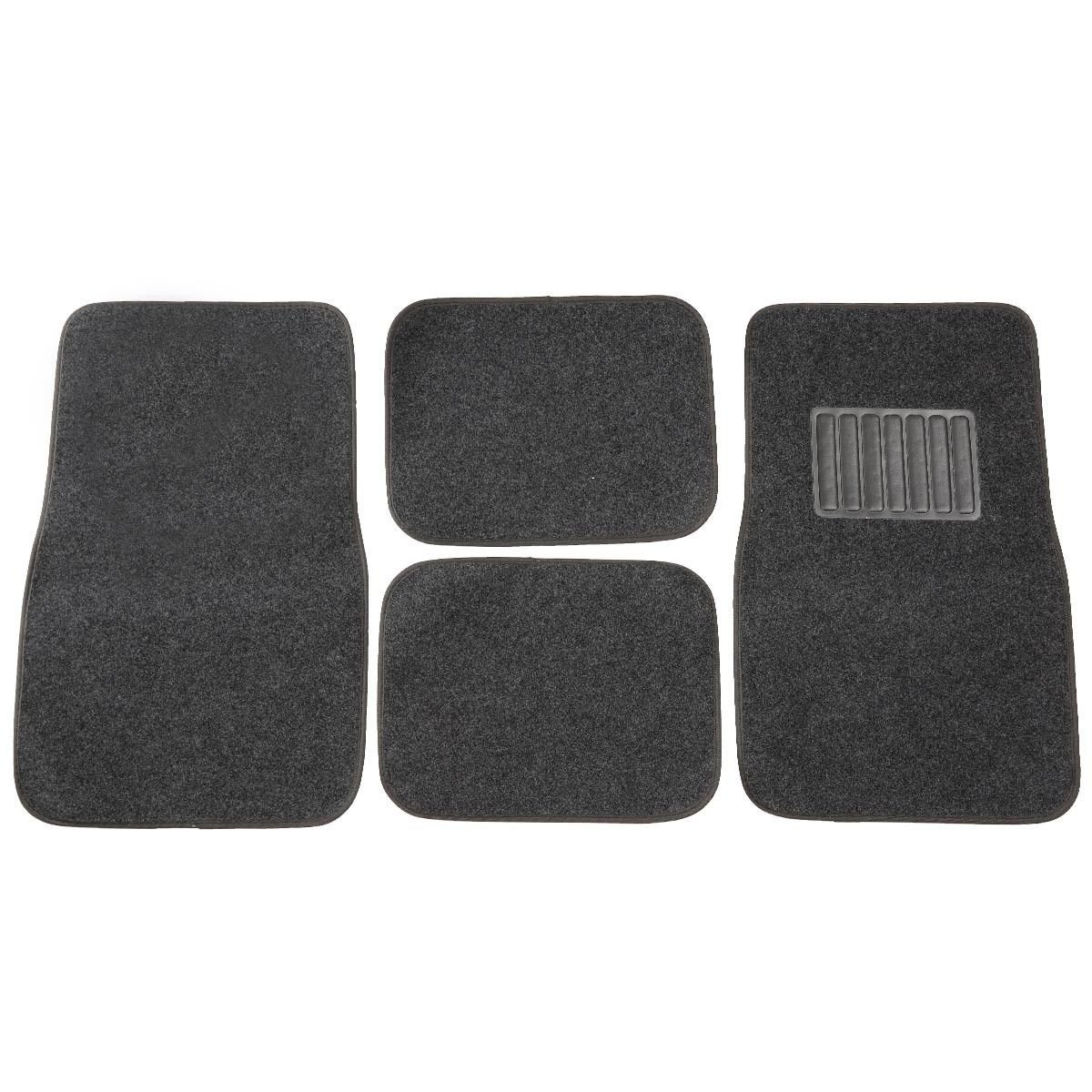 New Universal 4 PC Solid Car Floor Carpet Mat Pad Truck SUV VAN Mats Dark Gray