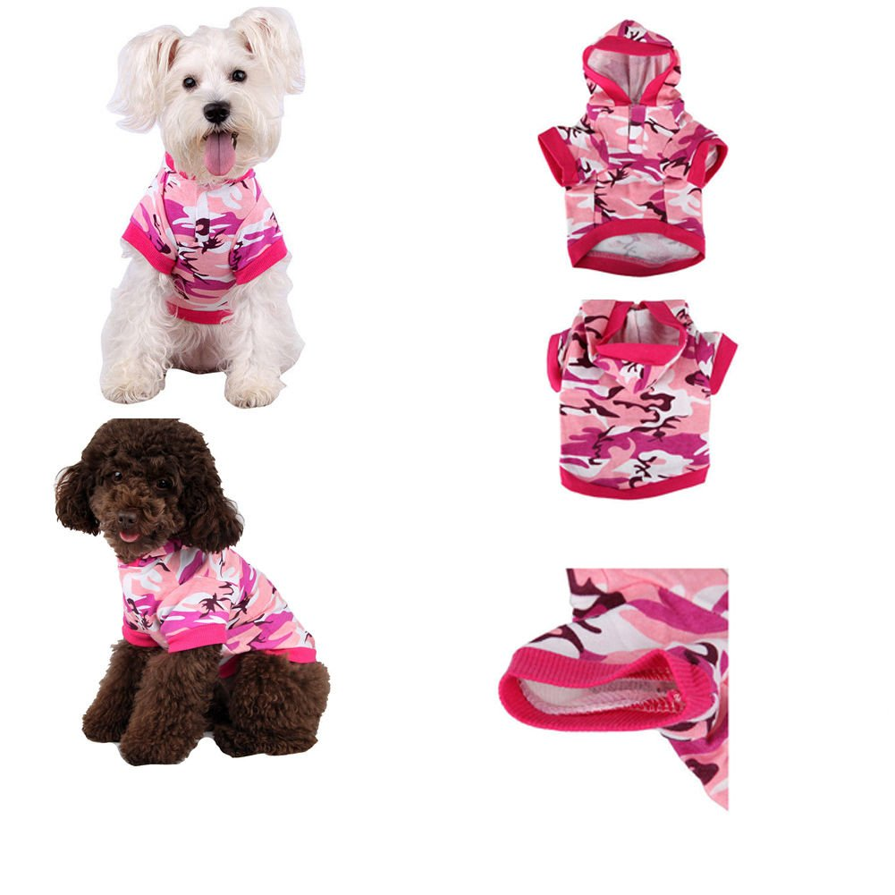 Hot Pink Camouflage Pet Dog Cat Puppy Clothes Hat T-Shirt Pet Clothing
