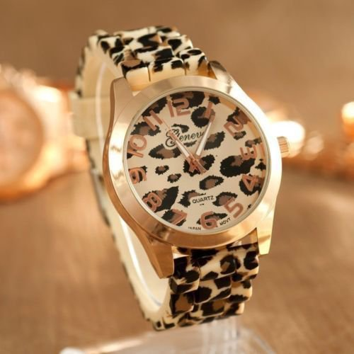 Womens Girls Geneva Fashion Sexy Leopard Jelly Silicone Quartz Wristwatch Gift