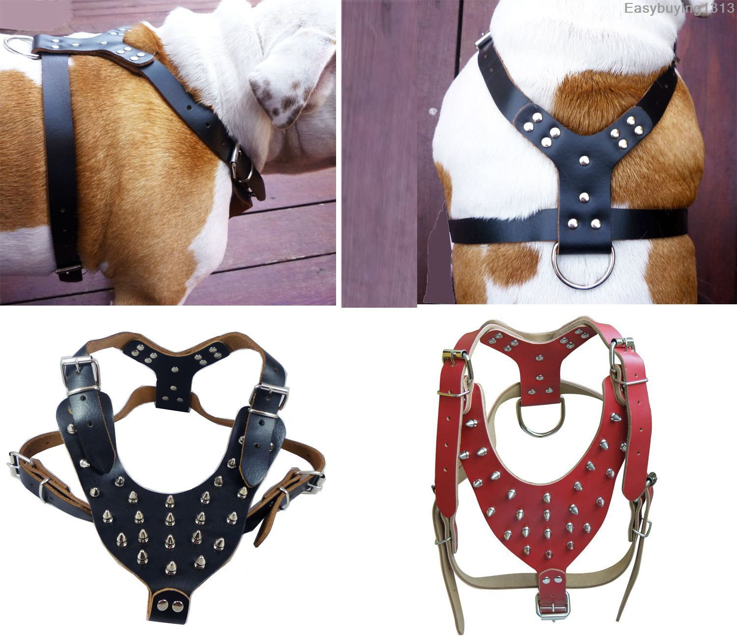 Black Red New Spiked Studded Leather Dog Harness for Pitbull Mastiff Boxer