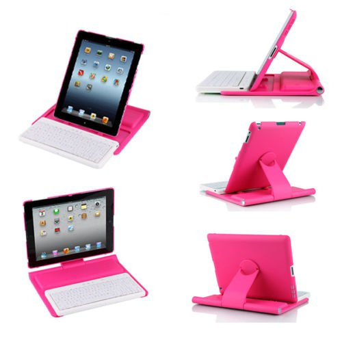 New iPad 4 3 2 Rotating Swivel Stand Case Cover Removable Bluetooth Keyboard
