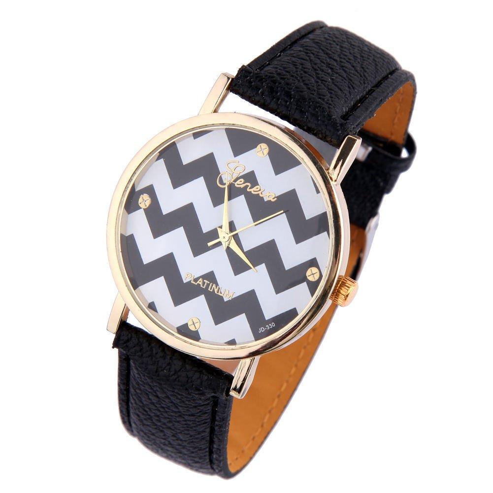 New Women's Geneva Chevron Style Leather Watch - Black
