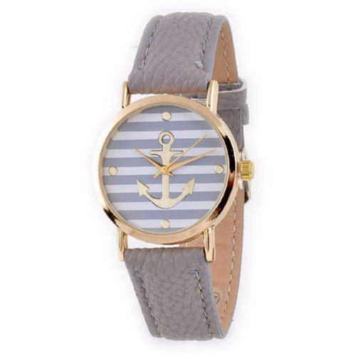 "New Fashion Women""s Ladies Geneva Striped Anchor Style Leather Watch"