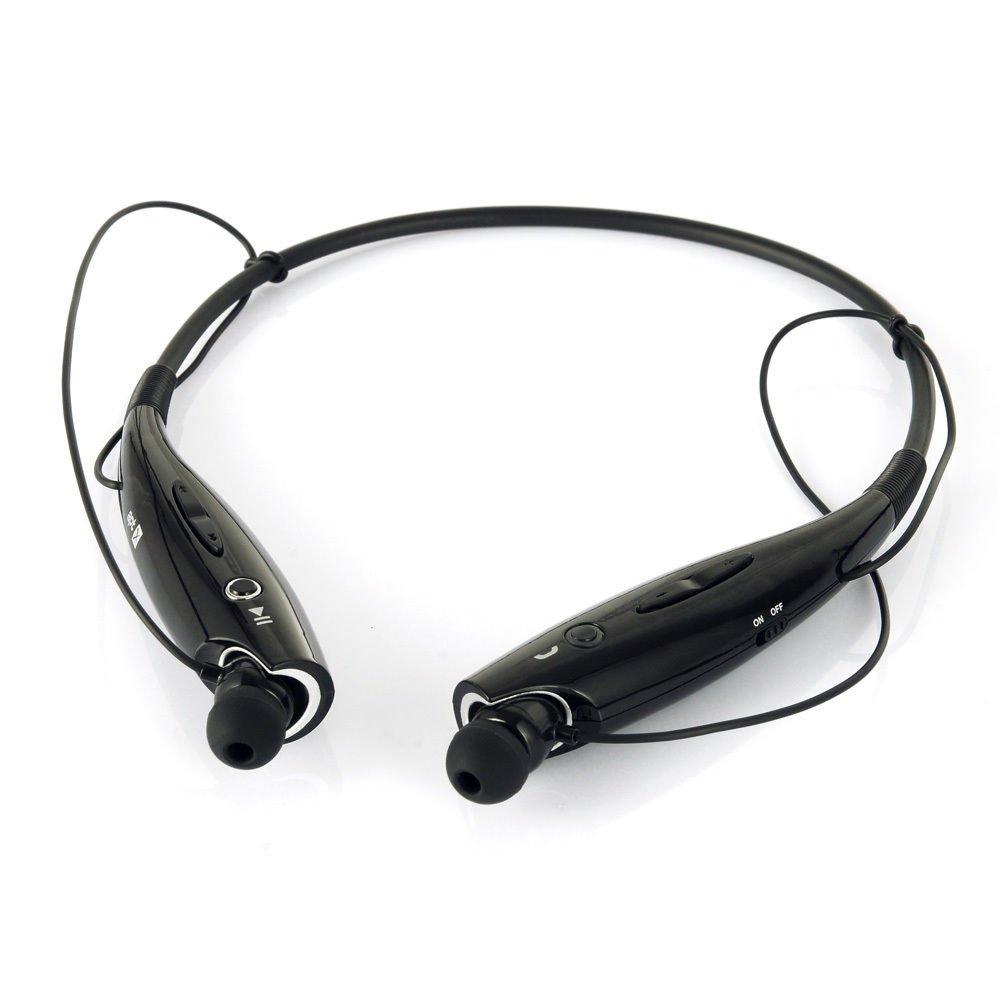 Black Wireless Bluetooth HandFree Sport Stereo Headphone for iPhone Samsung LG