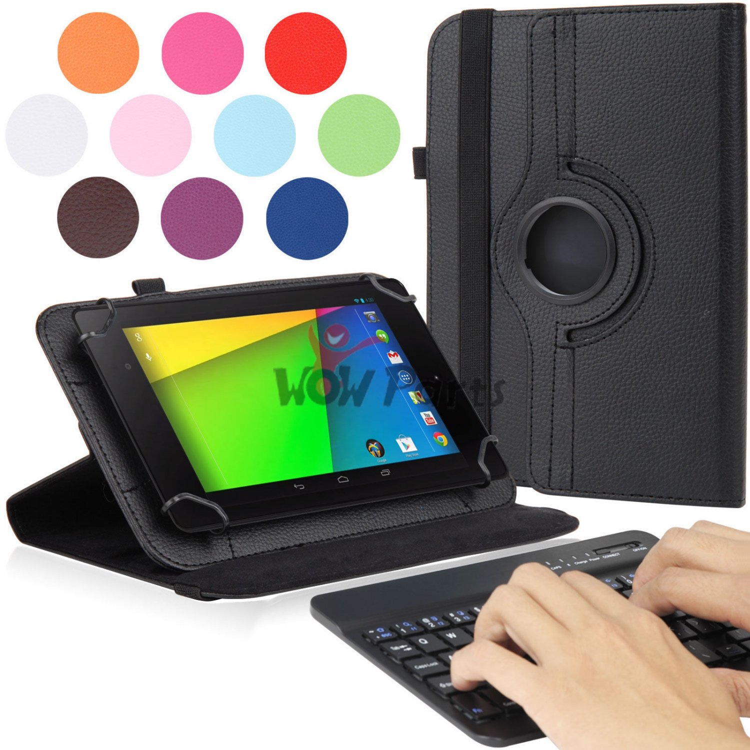 PU Leather Folio Stand Case Bluetooth Keyboard for Google Nexus 7 inch Tablet