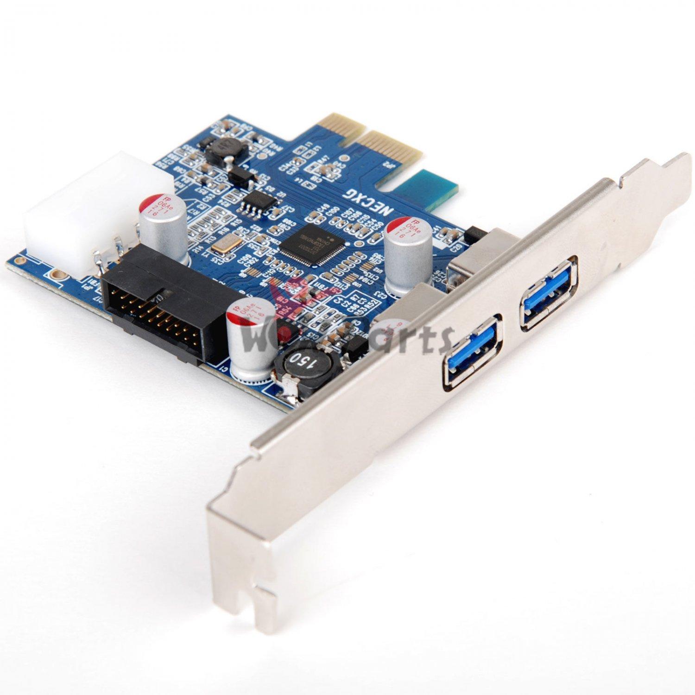 2 Port USB 3.0 PCI-E PCI Express Card Adapter 5Gbps 19 PIN For XP Vista WIN7