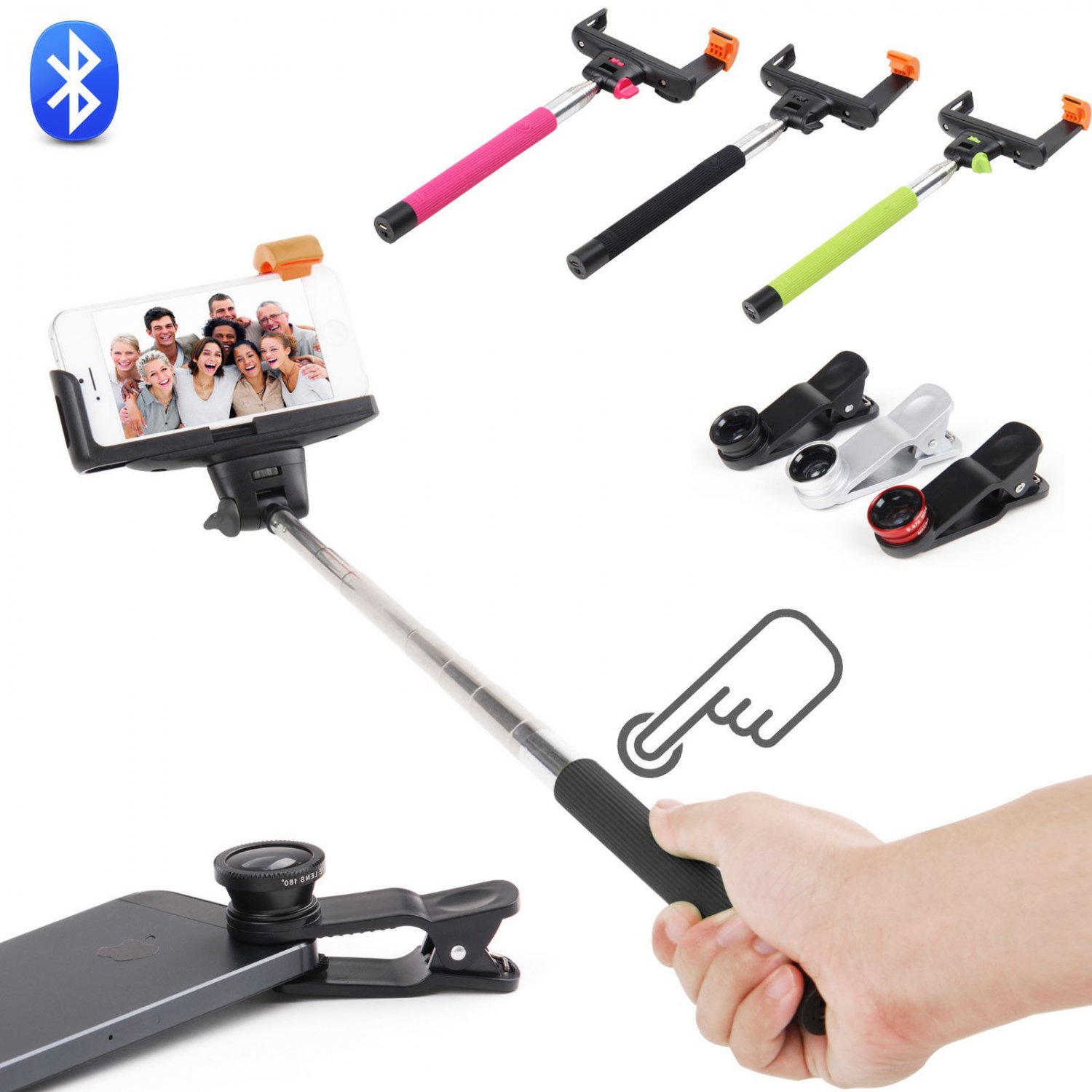 Bluetooth Extension Arm Selfie Fish Eye Lens Kit for iPhone 6 5s 5c 4s