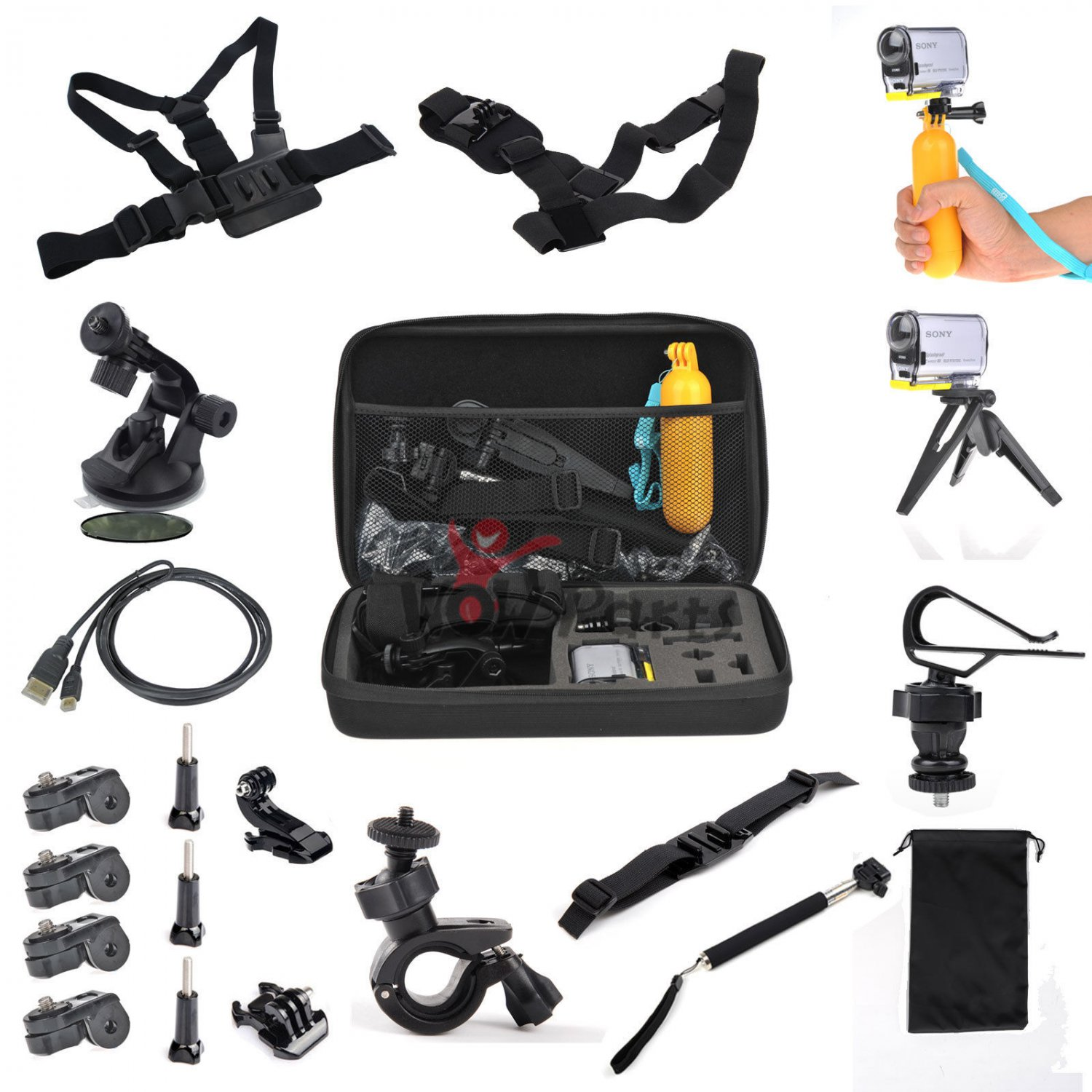 22 in1 Travel Storage Bag Holder Accessories Set for Sony Action Camera HDR