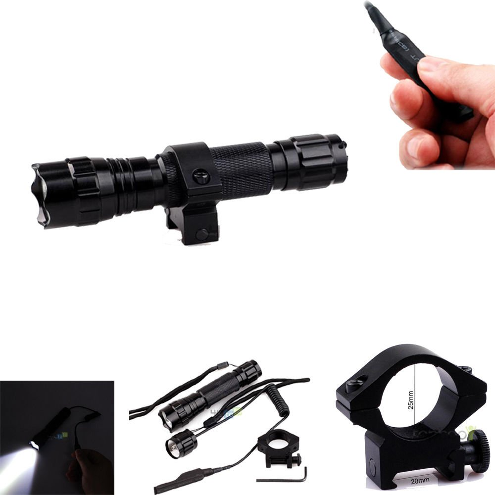Cree T6 Led 1000lm Tactical Flashlight Remote Switch Picatinny Rail Mount for Ar