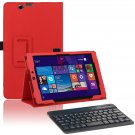 Red  Leather Stand Case Bluetooth Keyboard for Nextbook Windows 8.1