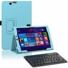 Light Blue Leather Stand Case Bluetooth Keyboard for Nextbook Windows 8.1