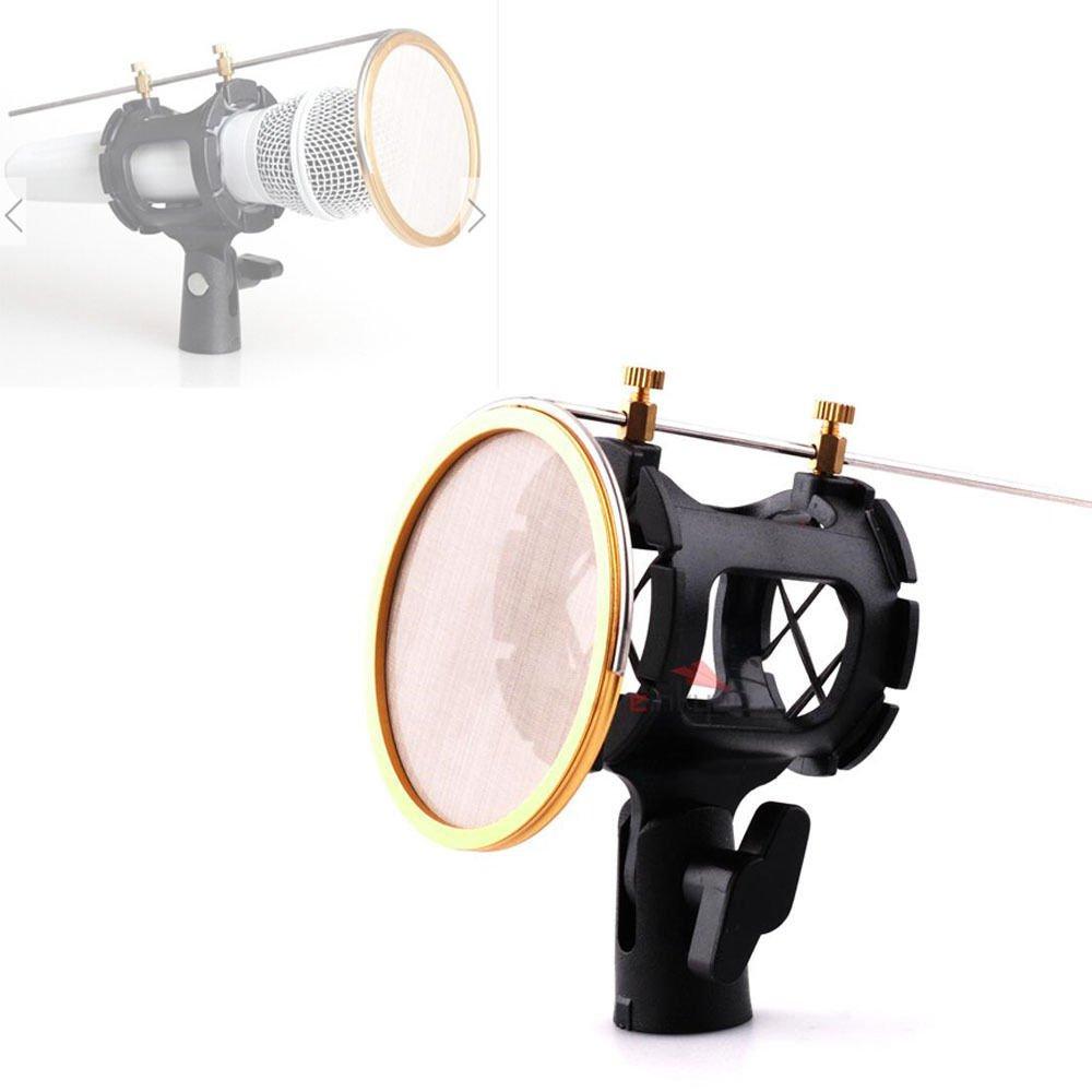 Mic Suspension Shock Mount Stand Holder Clip Pop Filter For Microphone Studio