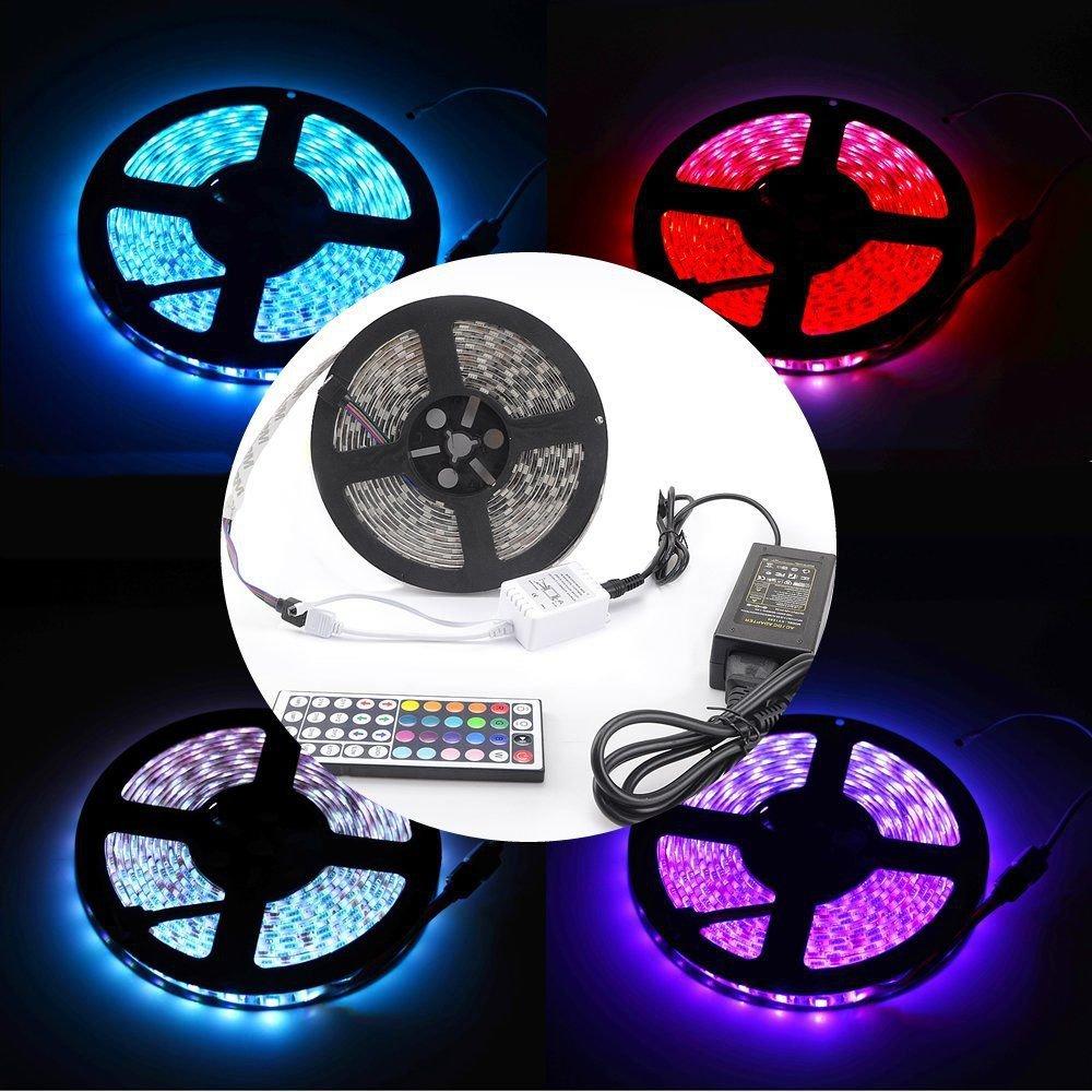 RGB 5M Waterproof 5050 LED SMD Strip Light 12V Power Supply 44key Remote