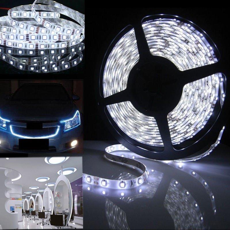 12V 5m 600 LED SMD 3528 White Flexible Strip Car Light Waterproof Super Bright