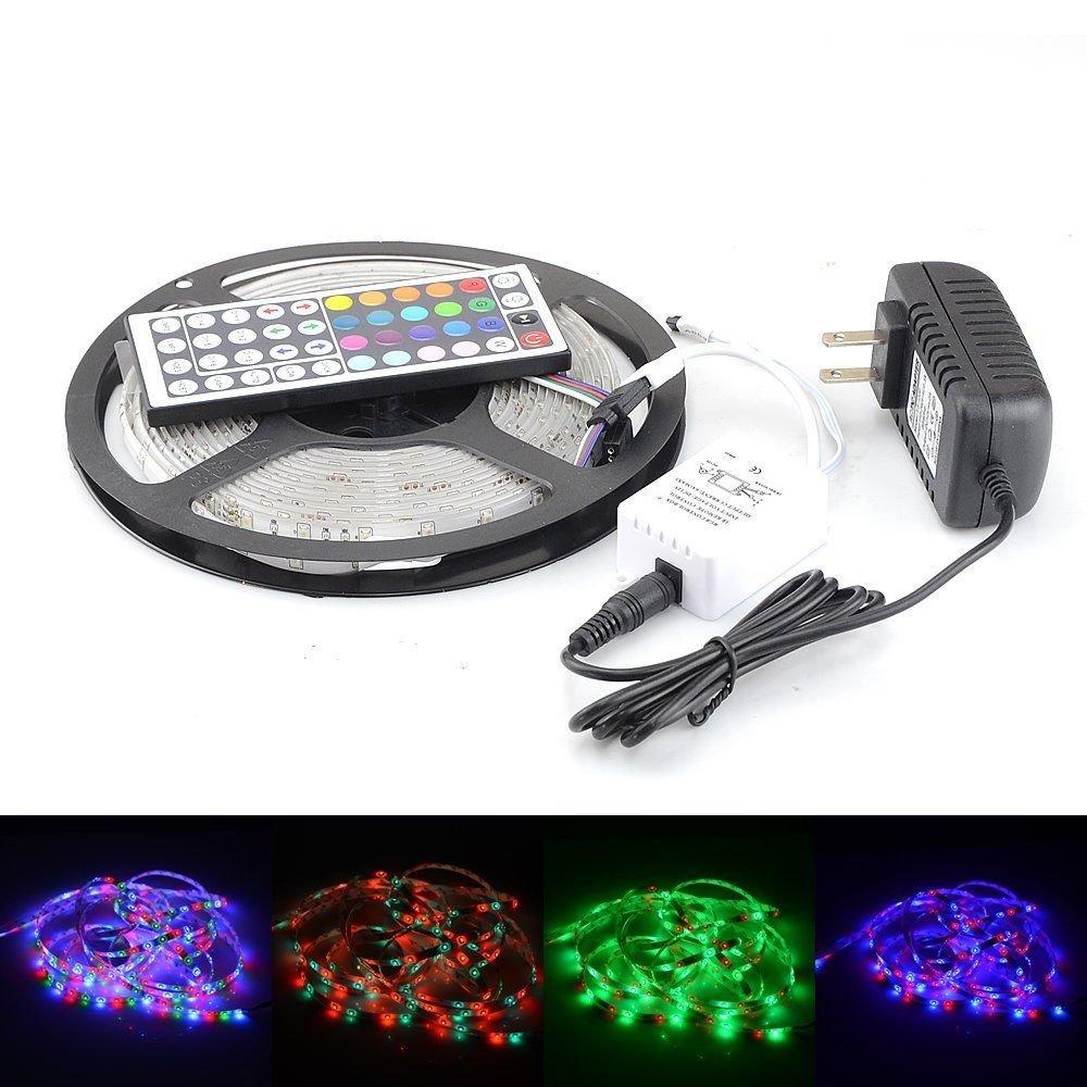 RGB 5M 3528 LED Strip Light 300 leds 44key Remote Controller 12V Power