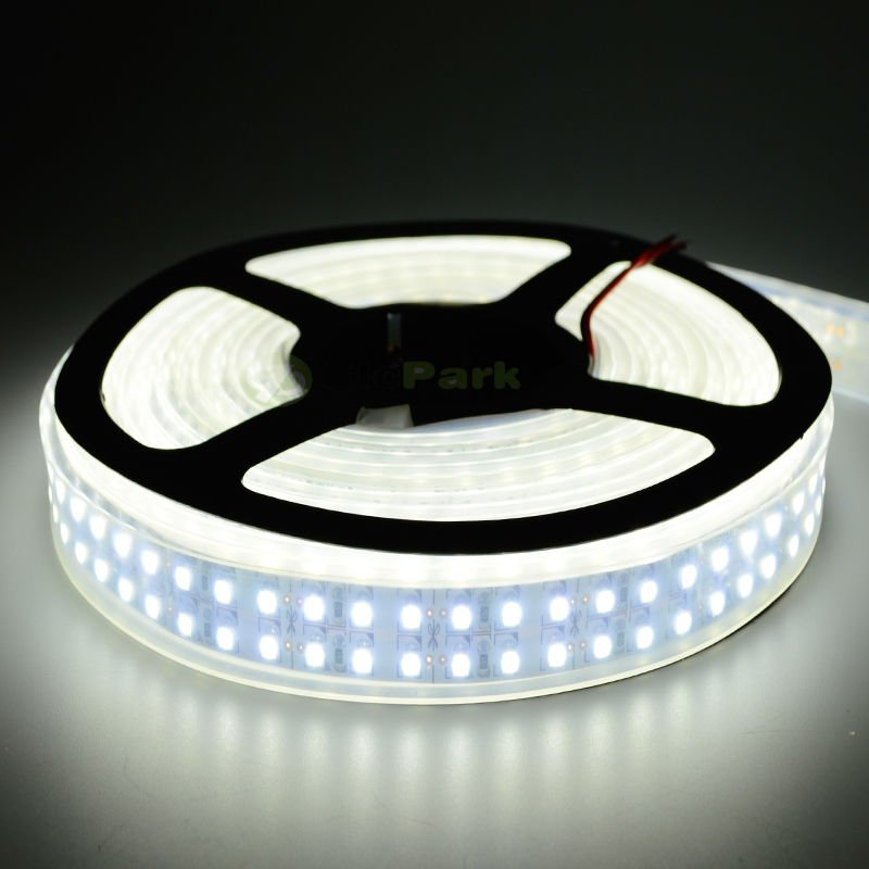 3528 SMD Double Row IP66 Waterproof 5M LED Light Strip Cool White 1200 LEDs