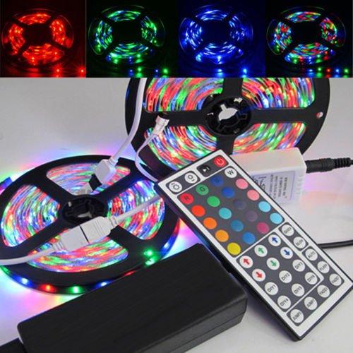 2 x 5M 3528 10M RGB 600LEDs LED Light Strip 44 Key IR Remote 12V 5A Power Supply