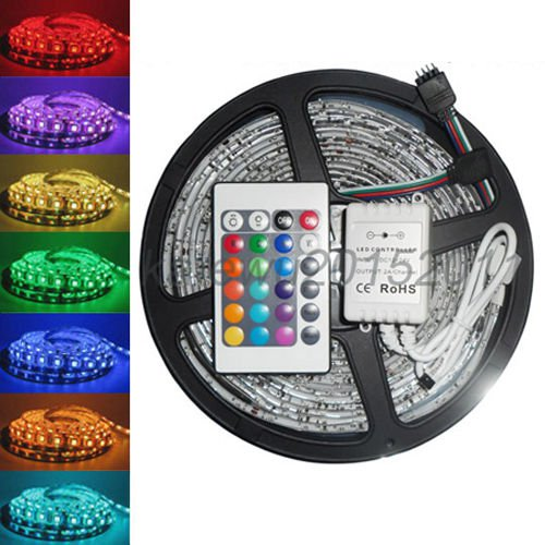 New 5M 5050 RGB SMD Waterproof Flexible led Strip 300 LEDs 24 Key IR Remote