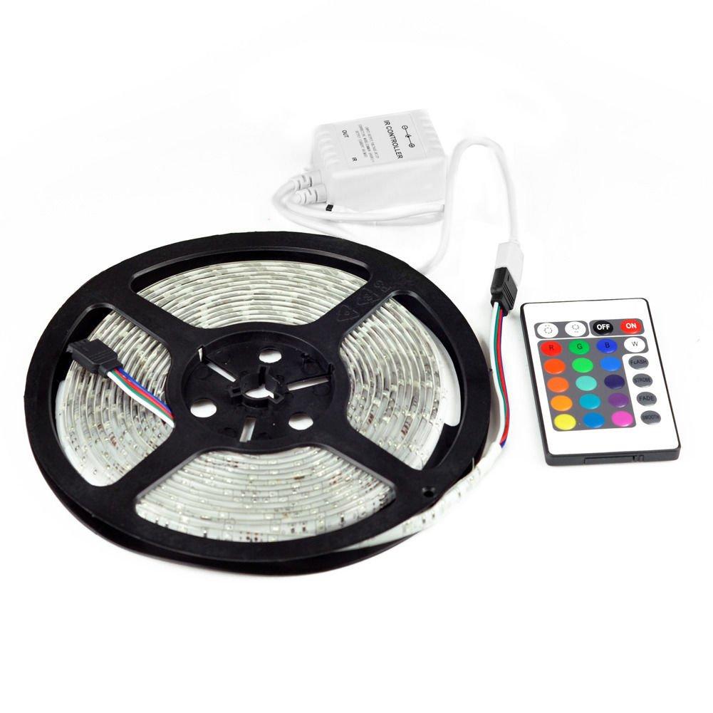 New 5M SMD RGB 3528 Waterproof Strip light 300 LED strip 24 key IR 12v Power