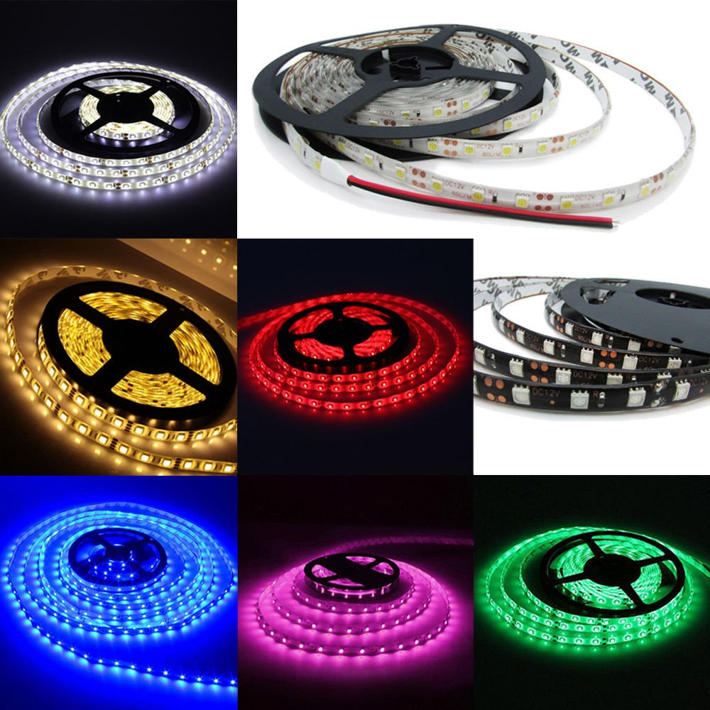5050 DC 12V 5M 300LEDs SMD White PCB Waterproof Flexible LED Strip Light