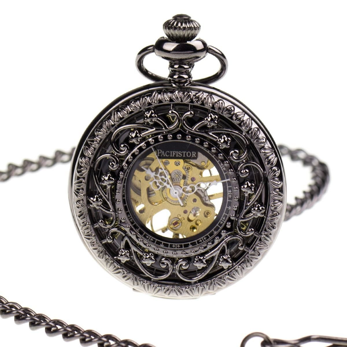 Pacifistor Half Hunter Hand Winding Skeleton Mechanical Mens Pocket Chain Watch