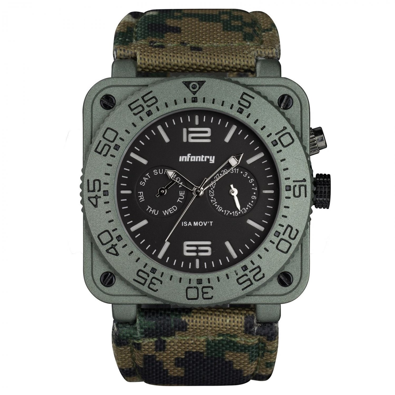 Infantry Tank Style Golden Mens Quartz Luxury Watch Glow Dark Camo Leather Band