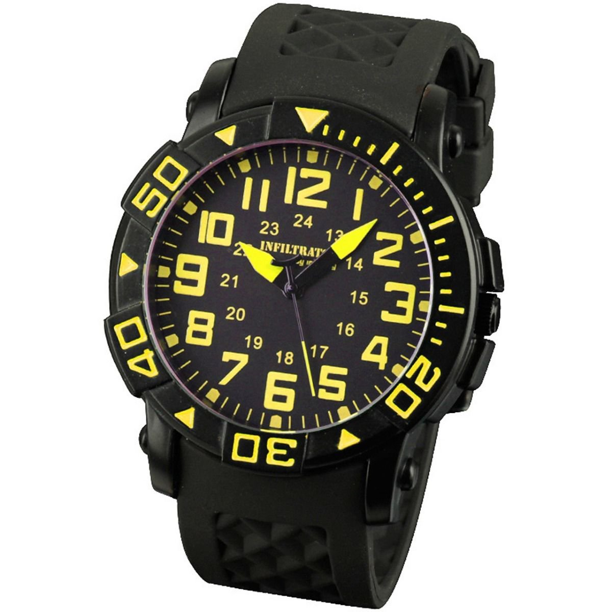 Yellow Infantry Mens Sport Quartz Wrist Watch Rotatabel Bezel Rubber strap