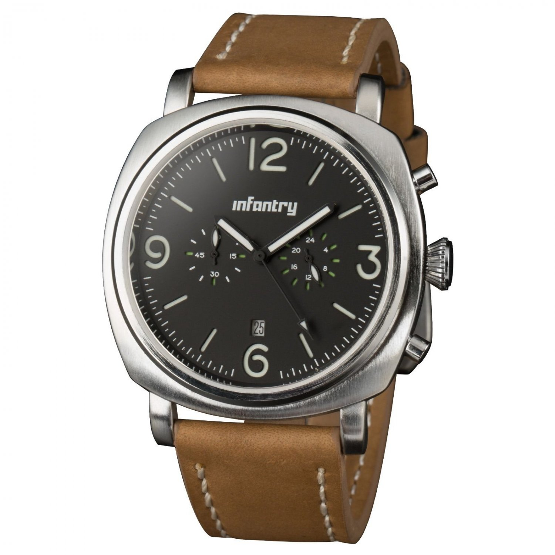 Silver Case Infantry Luxury Military Sport Mens Quartz Leather Wrist Watch WR30m