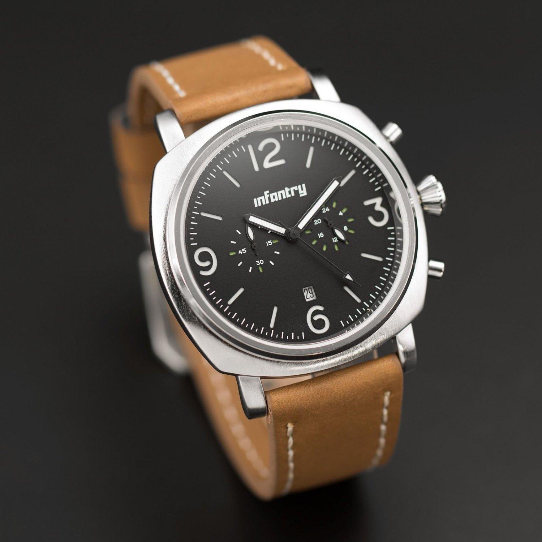 Infantry Fashion Glow in Dark Mens Quartz Miyota OS21 Date Wrist Watch Leather