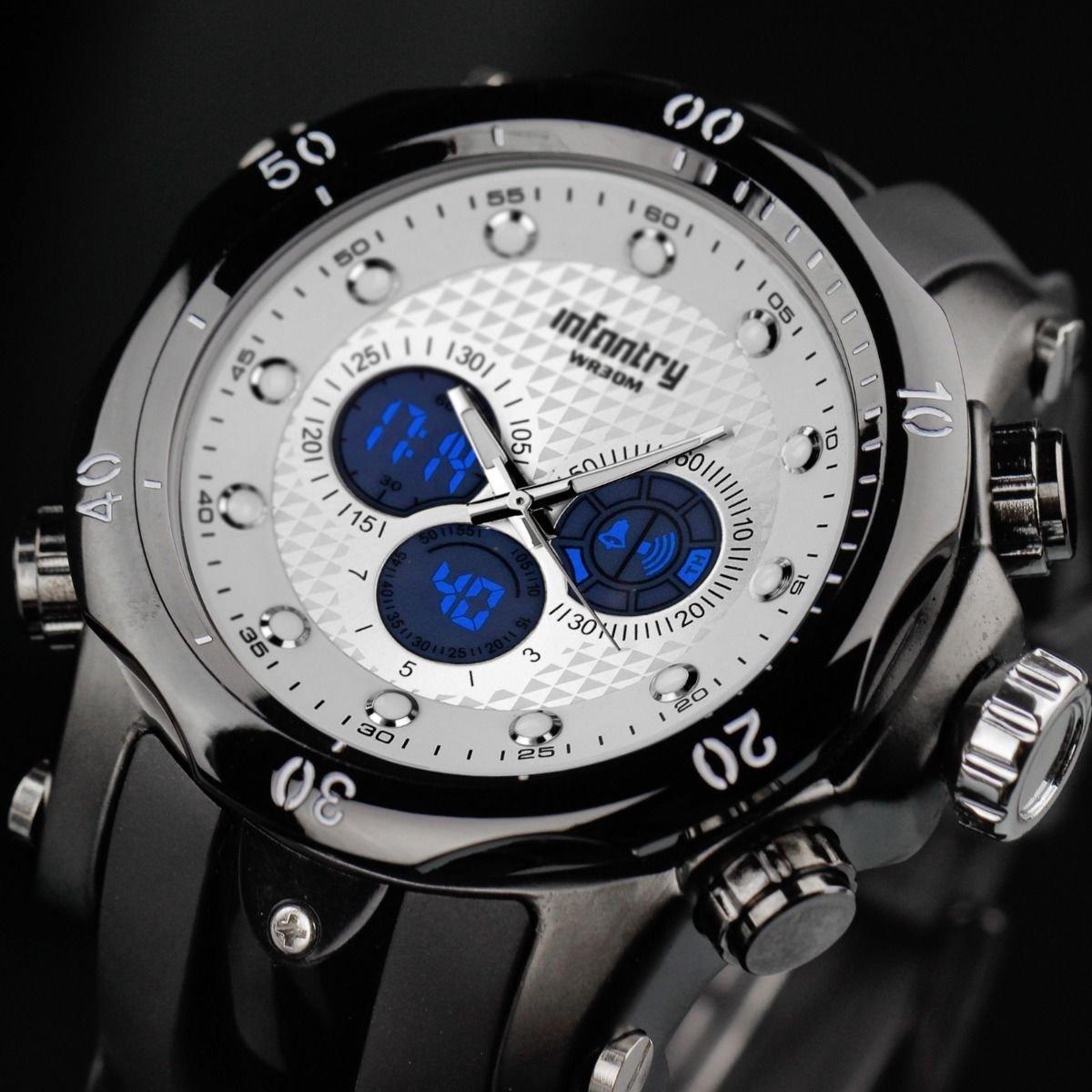 Infantry Mens Luxury LCD Digital Sliver Dial Quartz Watch Backlight Rubber Band