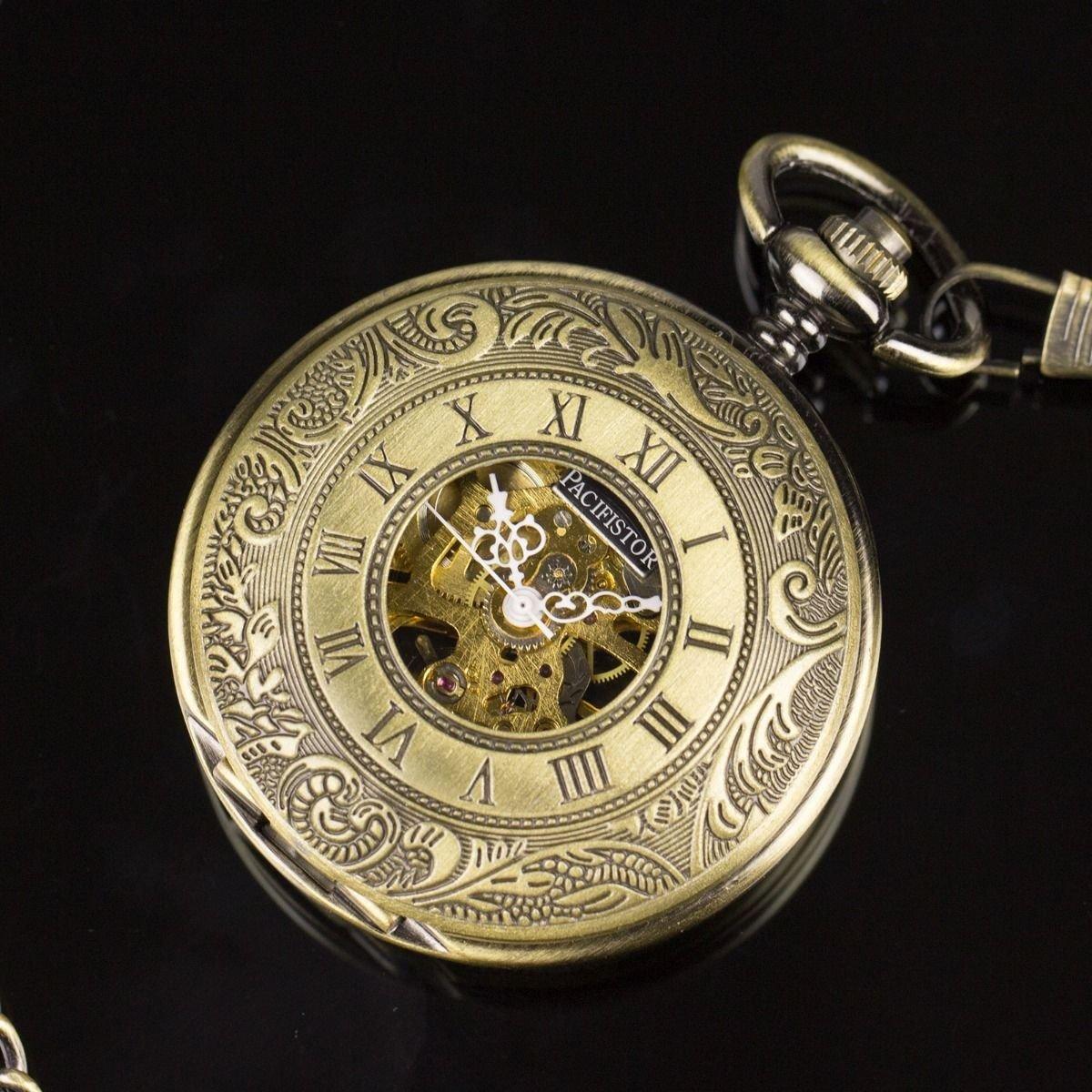 Pacifistor Classic Skeleton Mechanical Antique Design Pocket Chain Watch Bronze