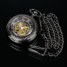 Pacifistor Transparent Luxury Gents Skeleton Mechanical Mens Chain Pocket Watch