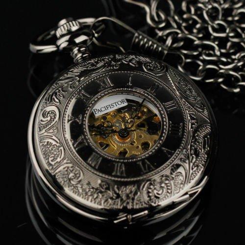 Pacifistor Antique Design Mens Mechanical Skeleton Black Pocket Watch Chain