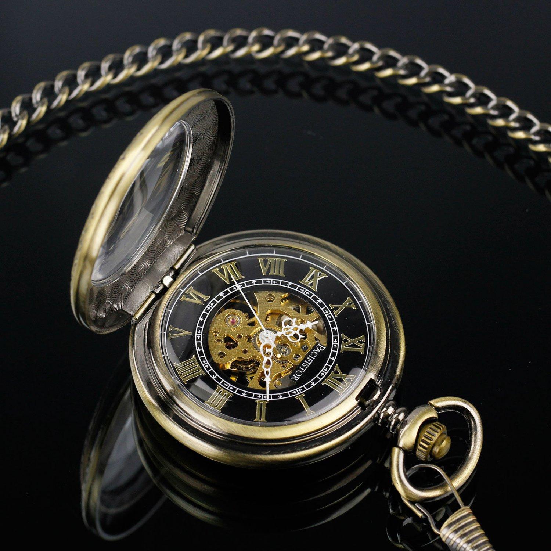 Antique Style Windup Skeleton Mechanical Mens Pocket Watch Engraved Pendant